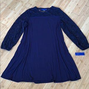 APT 9 navy blue long sleeved dress NWT (#34B2)